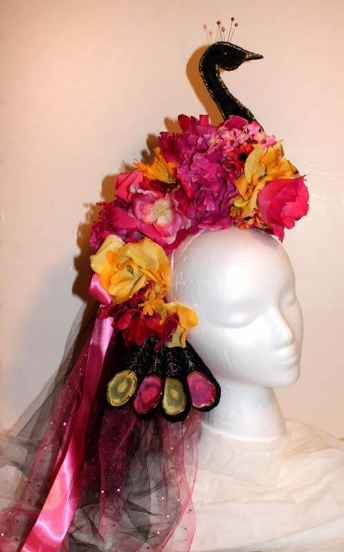 Pink Peacock Flower Headpiece