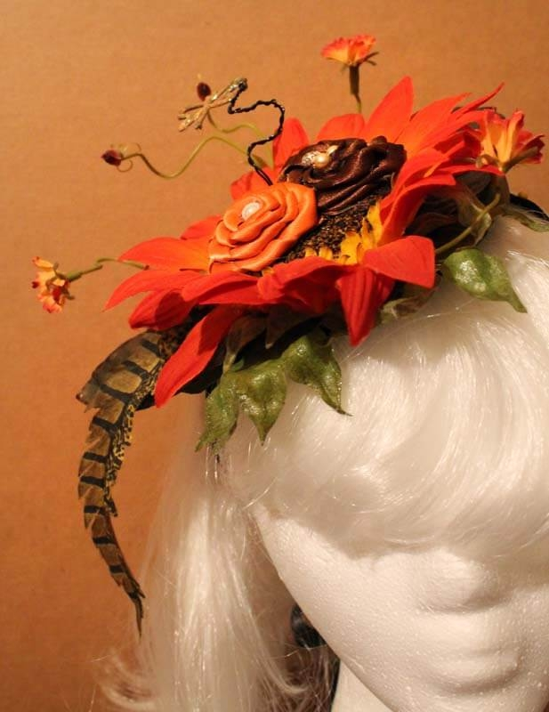 Orange Daisy Harvest Fascinator with Dragonfly & Ribbon Roses