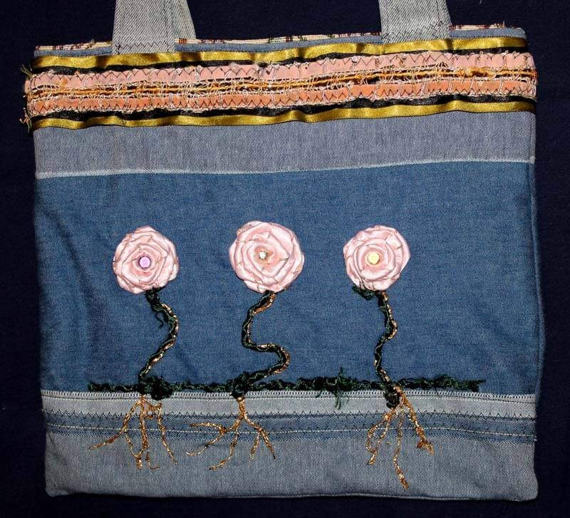 Pink roses on denim purse
