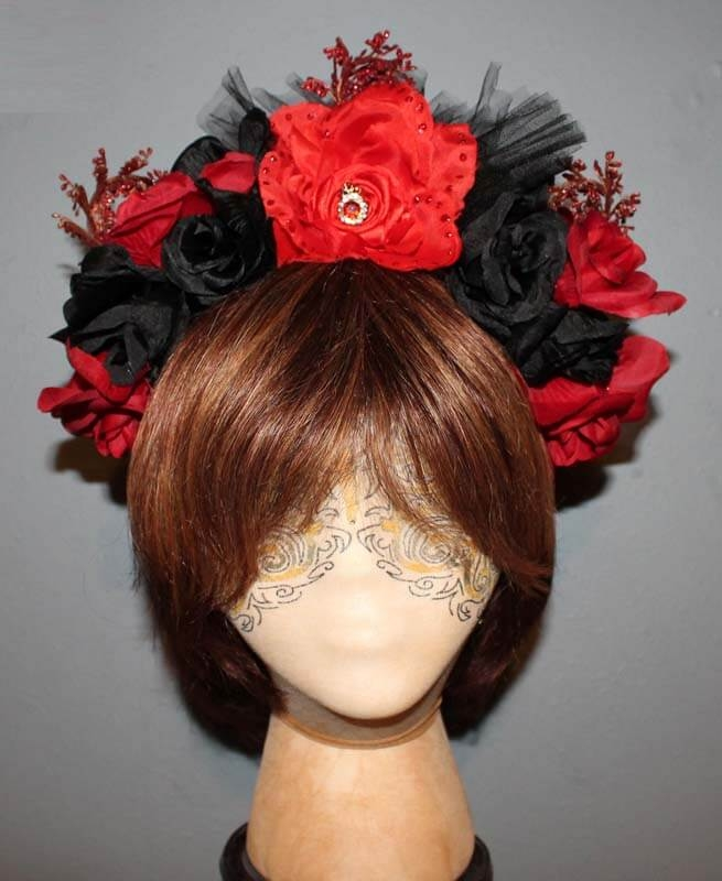 Day of the Dead Red & Black Flower Headband