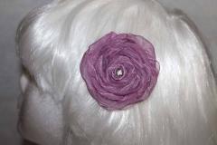 Purple Ribbon Rose Hair Clip