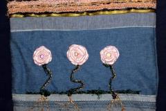 Pink roses on denim purse