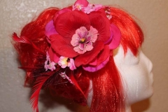 Large Red & Pink Hair Flower
