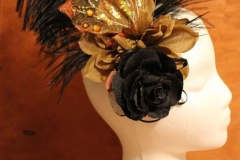 Black Feather, Bronze Butterfly & Rose Fascinator