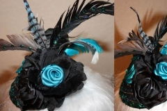 Turquoise/ Black Feather & Rose Fascinator