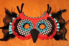 Red, Turquoise & Houndstooth Hoot Owl Mask