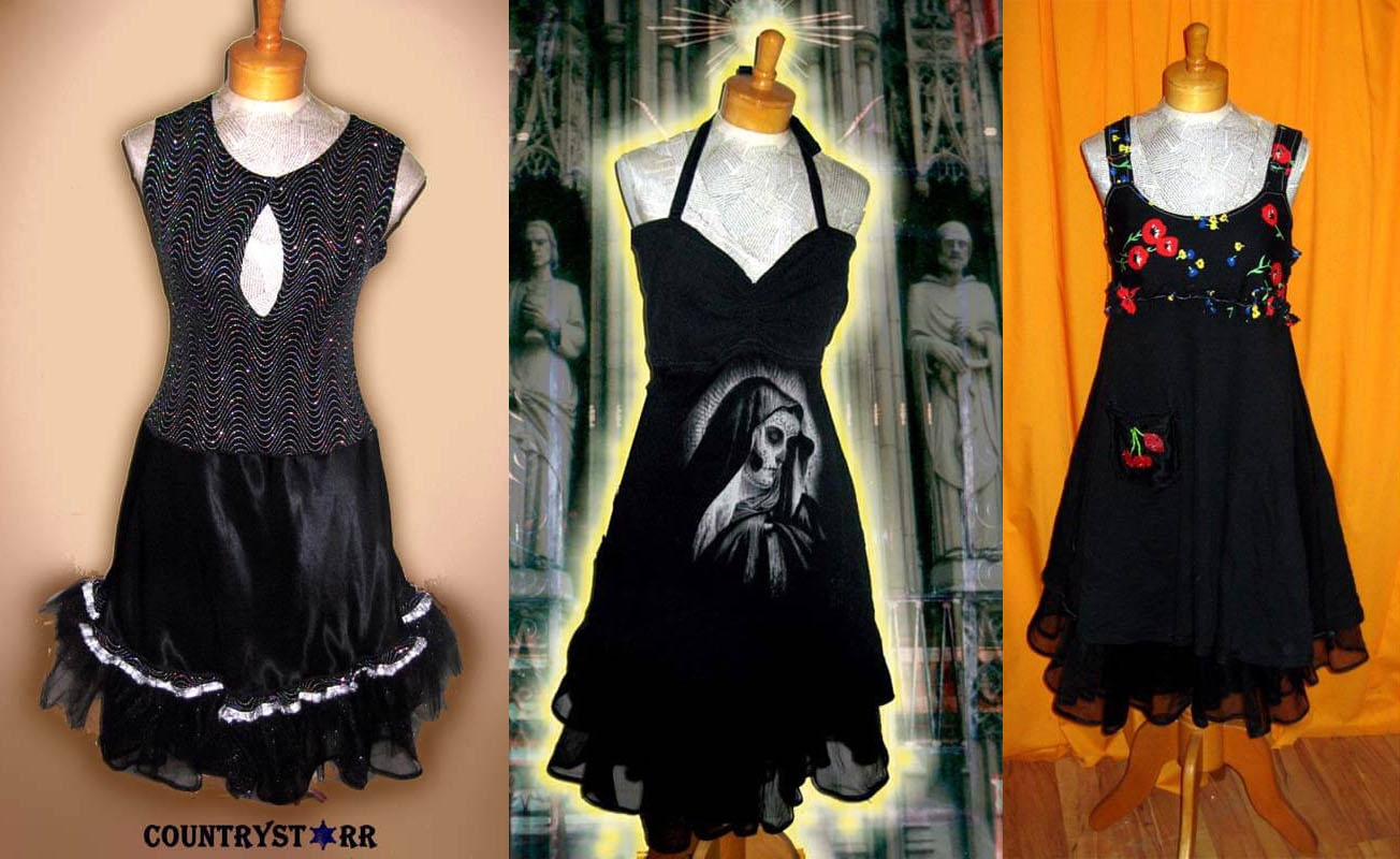 Virgin Mary, Glittery Black   & Fruit Dresses